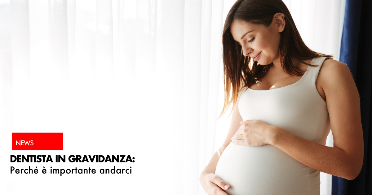 Dentista in gravidanza | donna con pancione e canottiera bianca